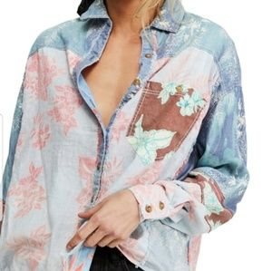 NWT! Free People Large chambray combo shirt